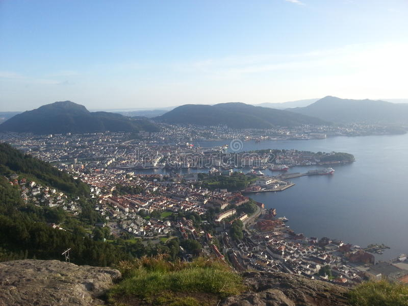 Bergen miasto od góry Sandviken zdjęcie royalty free
