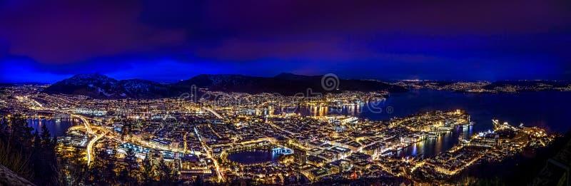 Bergen in the night. Bergen city (Norway) panorama in the night stock photos