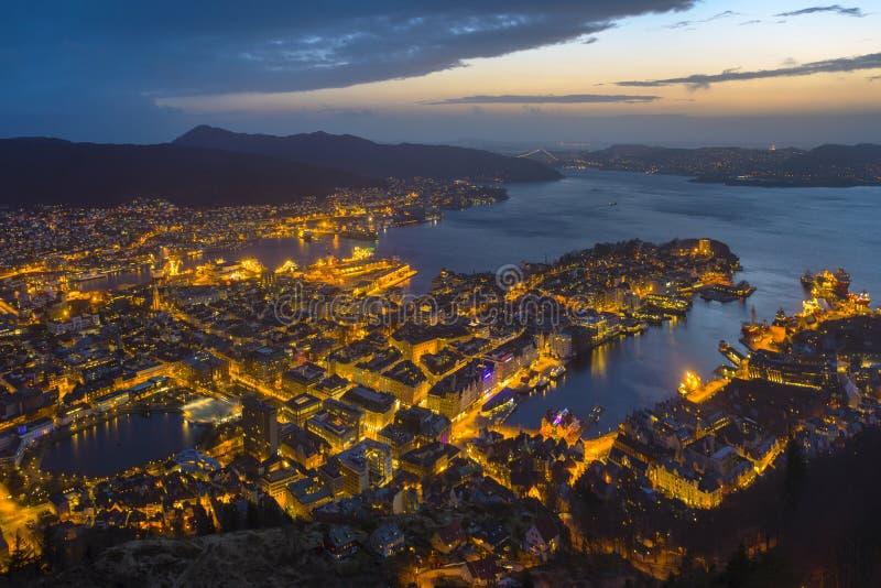 Bergen nocy widok obrazy royalty free