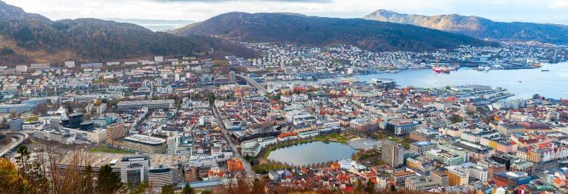 Bergen, Noorwegen Lucht Mening royalty-vrije stock foto