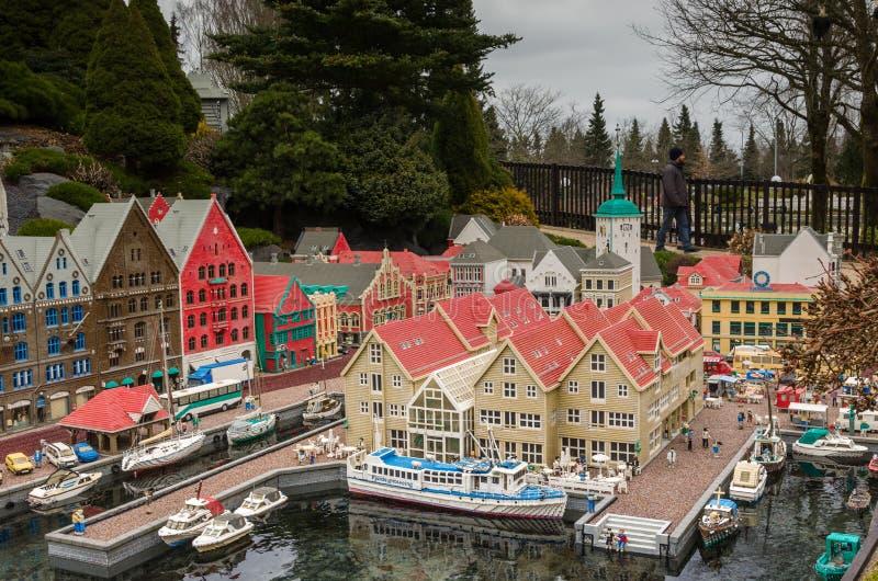 Bergen, Noorwegen van Lego wordt gemaakt die royalty-vrije stock fotografie