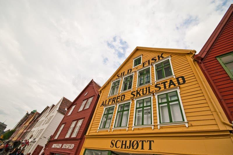 Bergen, Norvège Façades de rue de Bryggen images libres de droits