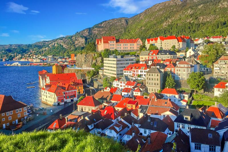 Sunny day in Bergen, Norway stock photography