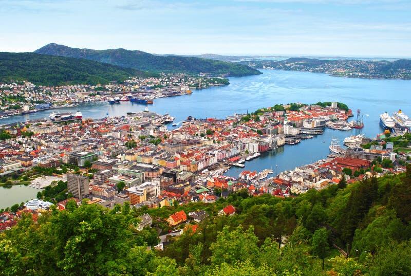 Bergen Norway. View of Bergen from Mount Floyen in Norway