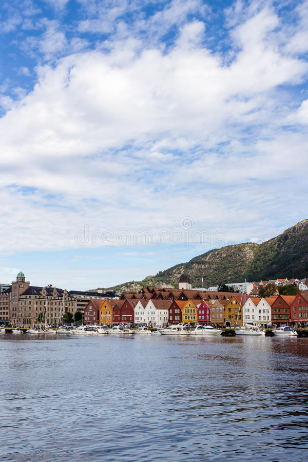 BERGEN, NORWAY - CIRCA 2016: The old town of Bergen which has many traditional houses, these buildings are visited by thousands of. Visitors each yea royalty free stock photo