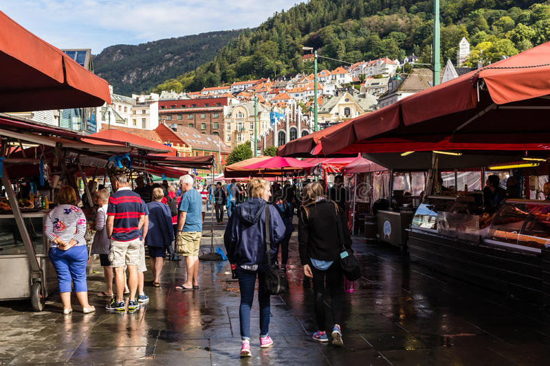 BERGEN, NORWAY - CIRCA SEPTEMBER 2016 - The Bergen fish market. Which is located at the City`s harbor, many tourists and locals frequent this area royalty free stock images