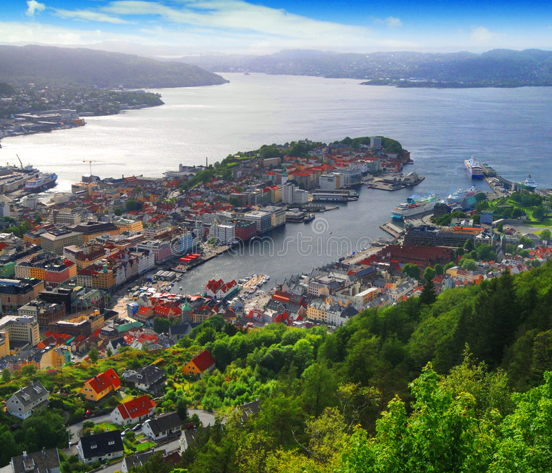 Download Bergen, Norway harbor stock photo. Image of town, aerial - 5685214
