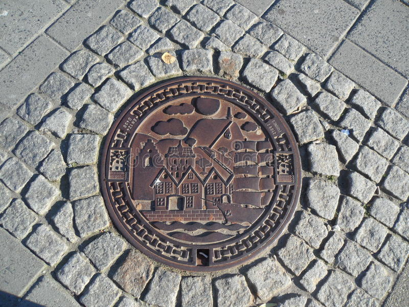 Bergen Norway Manhole Cover arkivfoto