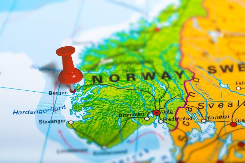 Bergen Norway map stock image Image of marking atlas 82630043