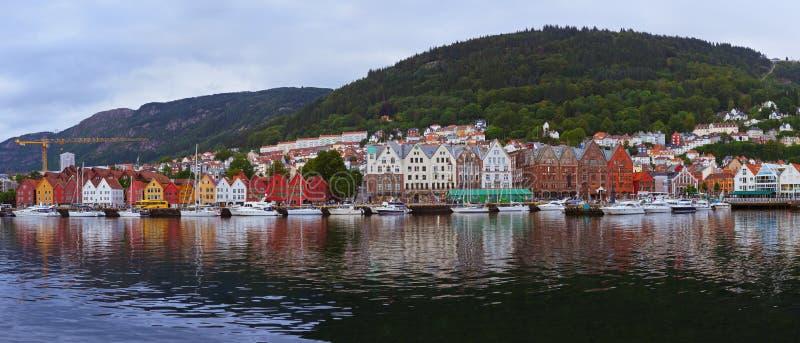 Bergen Norway panorama arkivfoton