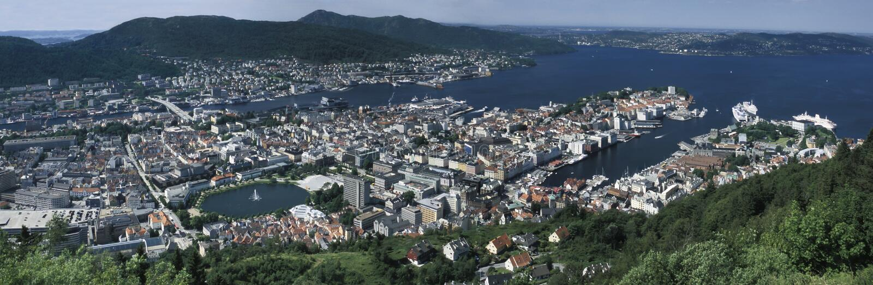 bergen norway panorama- sikt arkivfoto