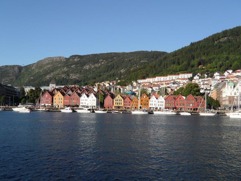 Bergen Norway Shoreline royaltyfri foto