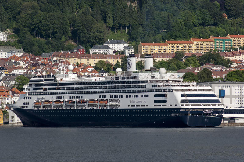 BERGEN/NORWAY - 21ST JUNE 2007 - The Holland America cruise line. R Rotterdam in Bergen, Norway stock image