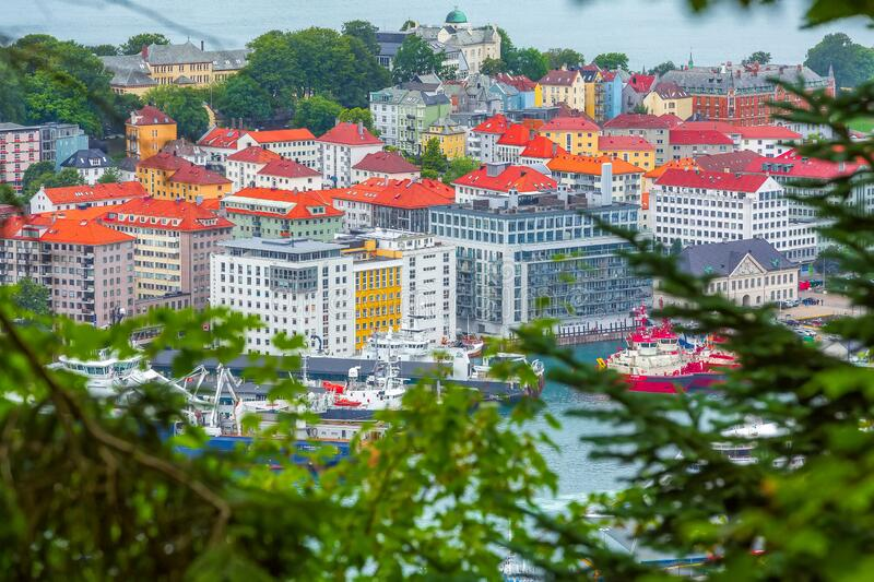 Bergen, Norway view with colorful houses. Bergen, Norway - July 30, 2018: Cityscape with downtown and boats aerial view royalty free stock photos