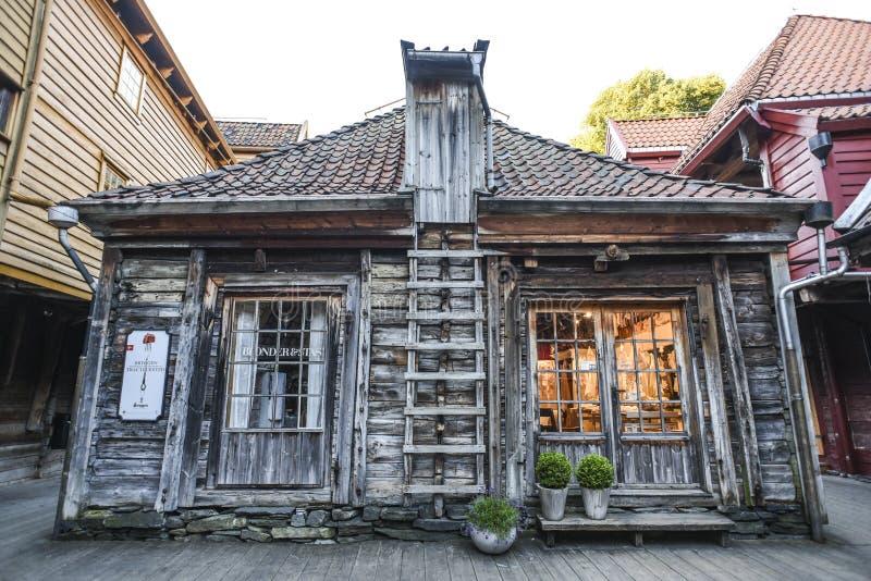 Bergen, Norwegen, am 23. Juli 2017: Altes Holzhaus in Bergen, Norwegen lizenzfreie stockbilder