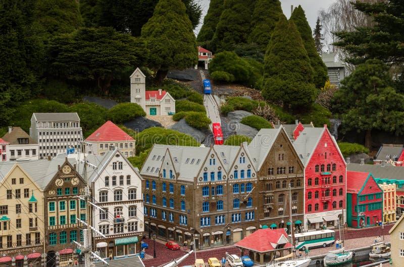 Bergen, Norwegen machte von Lego lizenzfreie stockfotografie