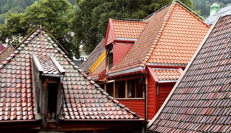 Bergen, Norwegia swój characteristic dachy obraz stock