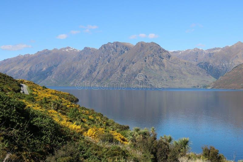 Bergen op overkantmeer Wakatipu, Nieuw Zeeland stock afbeelding