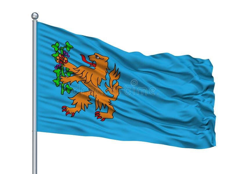 Bergen Op Zoom City Flag auf Fahnenmast, die Niederlande, lokalisiert auf weißem Hintergrund lizenzfreie abbildung