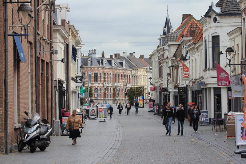 Bergen op Zoom Netherlands. October 4, 2017: Shopping street in Bergen op Zoom, a municipality in the Dutch province of North Brabant with 66,569 inhabitants royalty free stock image