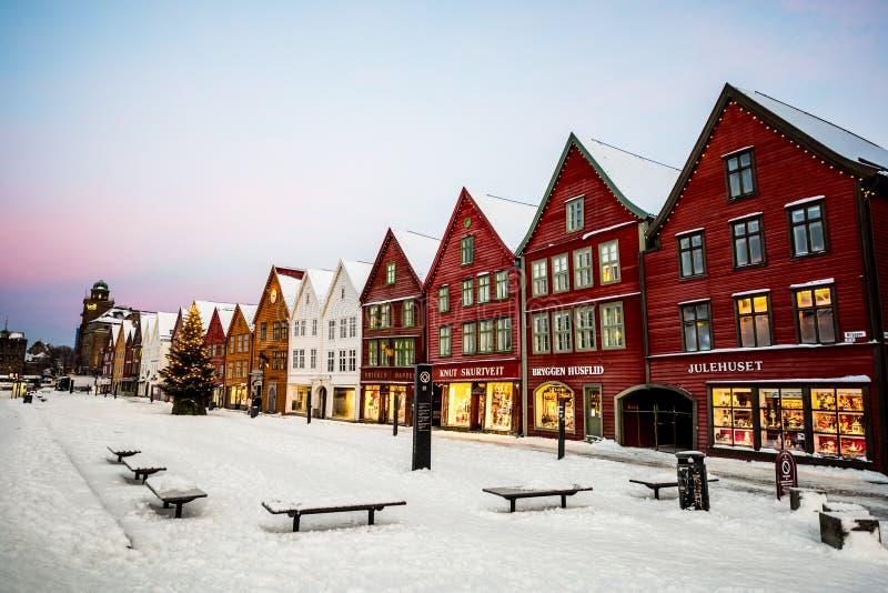 Bergen på jul arkivfoto