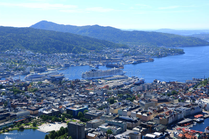 Bergen port Norway. Looking over the port and historic city of Bergan from the top of mount Floyen with its busy town centre and stunning views a cruise city stock photos