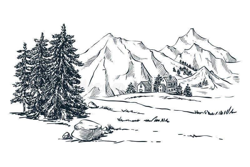 Bergen, sparren en pijnboombomenlandschap, vectorschetsillustratie Hand getrokken de winterheuvels en bos royalty-vrije illustratie