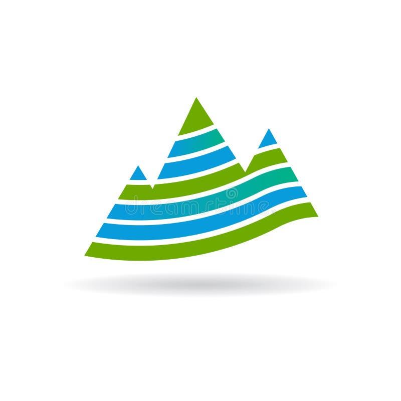 Bergen in Strepenillustratie stock illustratie