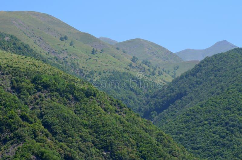 Bergen van de Grotere Kaukasus in de natuurlijke reserve van Ilisu, Noordwestelijk Azerbeidzjan stock fotografie
