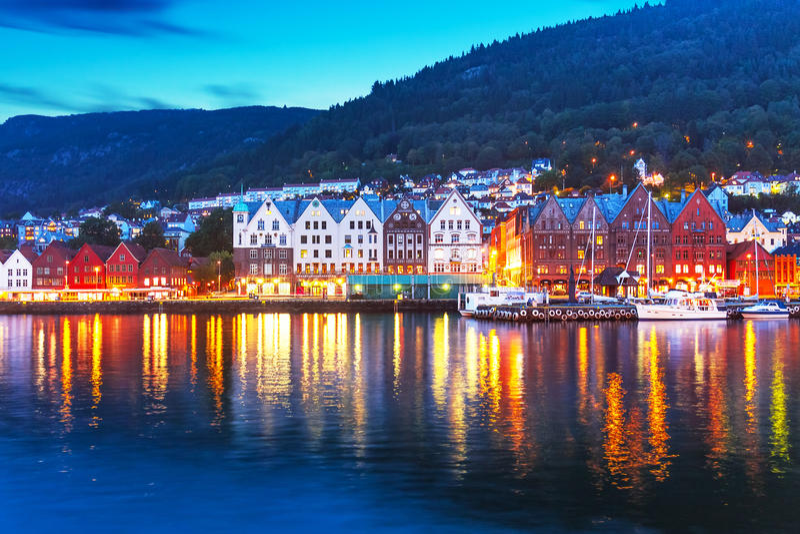 bergen wieczór Norway panorama fotografia stock