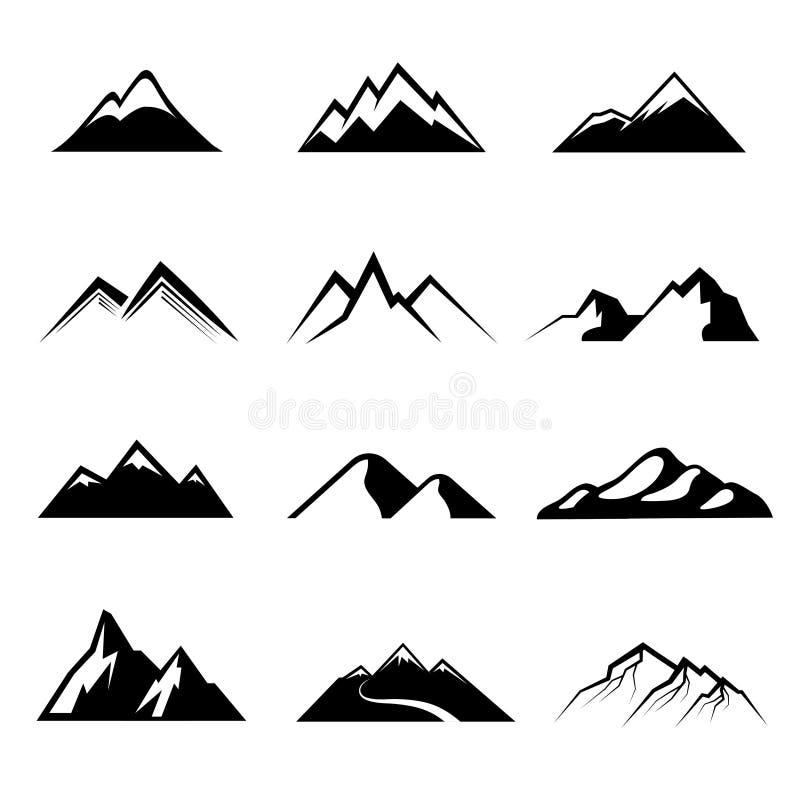 Bergen zwarte vectorpictogrammen vector illustratie