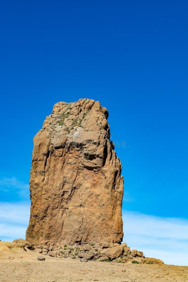 Bergenlandschap met Roque Nublo op Gran Canaria-eiland, Kanarie, Spanje stock fotografie