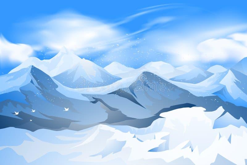 Bergenpiek met sneeuwscène vector illustratie