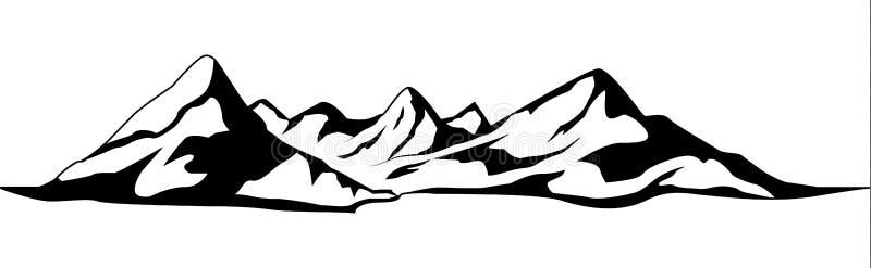 Bergenvector Geïsoleerd bergketensilhouet Berg Vectorillustratie stock illustratie