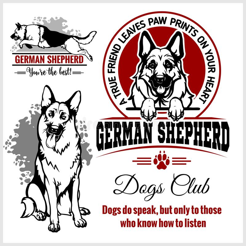 Berger allemand - ensemble de vecteur pour des insignes de T-shirt, de logo et de calibre illustration de vecteur