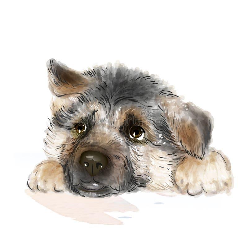 Berger allemand Puppy illustration de vecteur