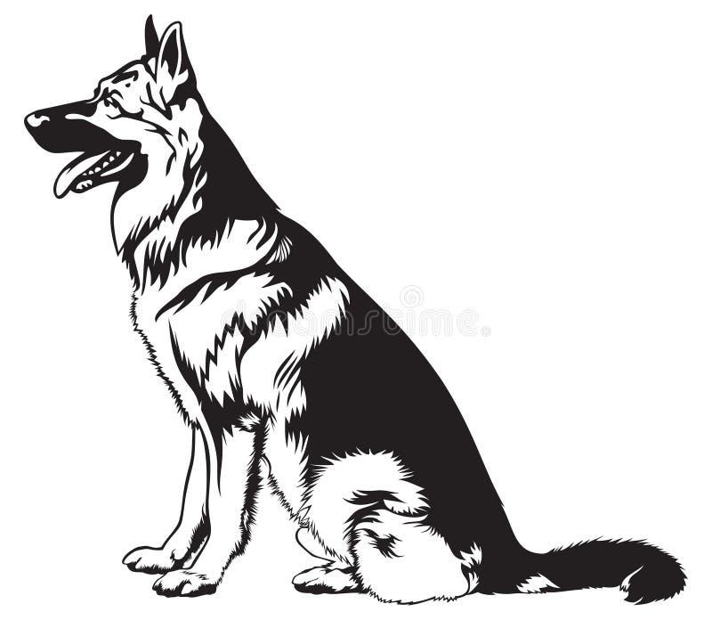 Berger allemand s'asseyant de chien illustration stock