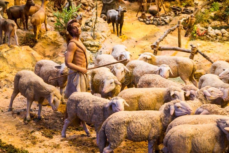 Berger avec un troupeau de moutons photos stock