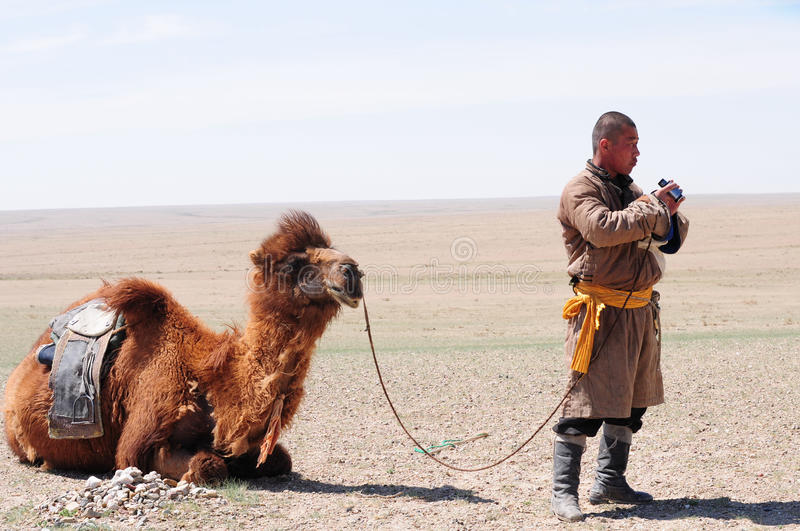 Berger nomade mongol avec son chameau photos stock