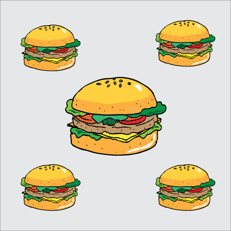 Berger. Vector burger, cartoon Burgers, fast food, culinary delights, wallpapers, food cartoons, burgers, big burgers, dairy foods royalty free illustration