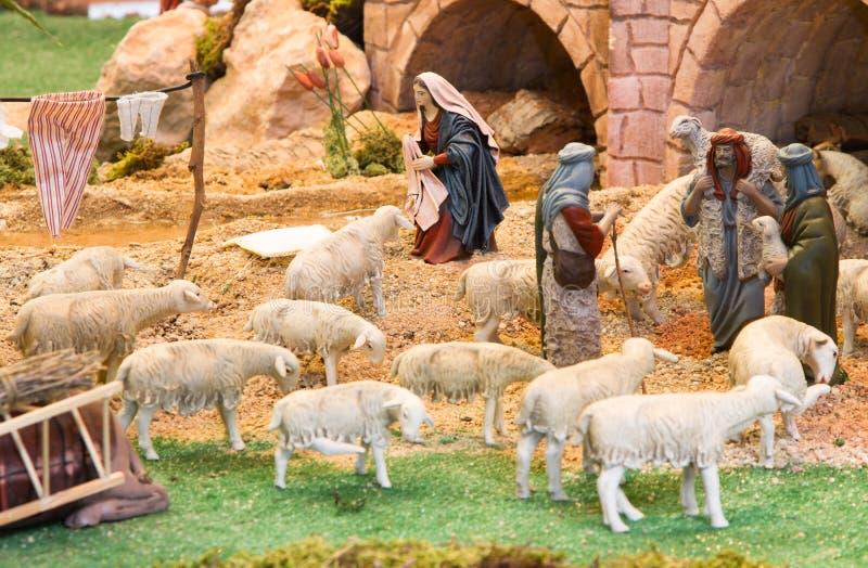 Bergers avec un troupeau de moutons photographie stock