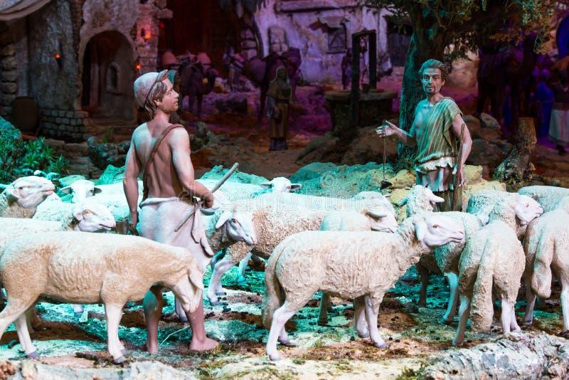 Bergers avec un troupeau de moutons photo stock