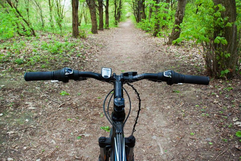 Berget som cyklar ner den nedgående kullen, fastar på cykeln fotografering för bildbyråer