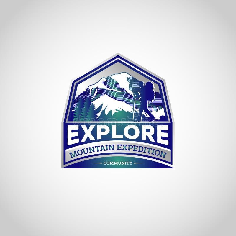 Berget undersöker att fotvandra Logo Symbol Badge stock illustrationer