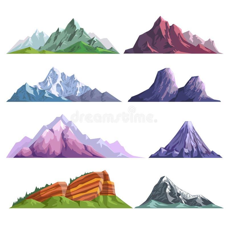 Berget vaggar, eller ställer den alpina isolerade symboler in för monteringskullenatur lägenheten stock illustrationer