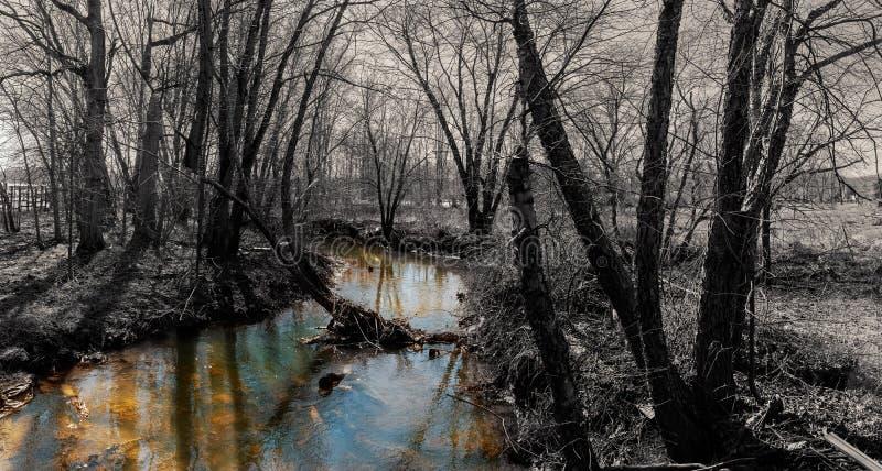 Bergflod i sen höst Applicerad indiansommar arkivbild