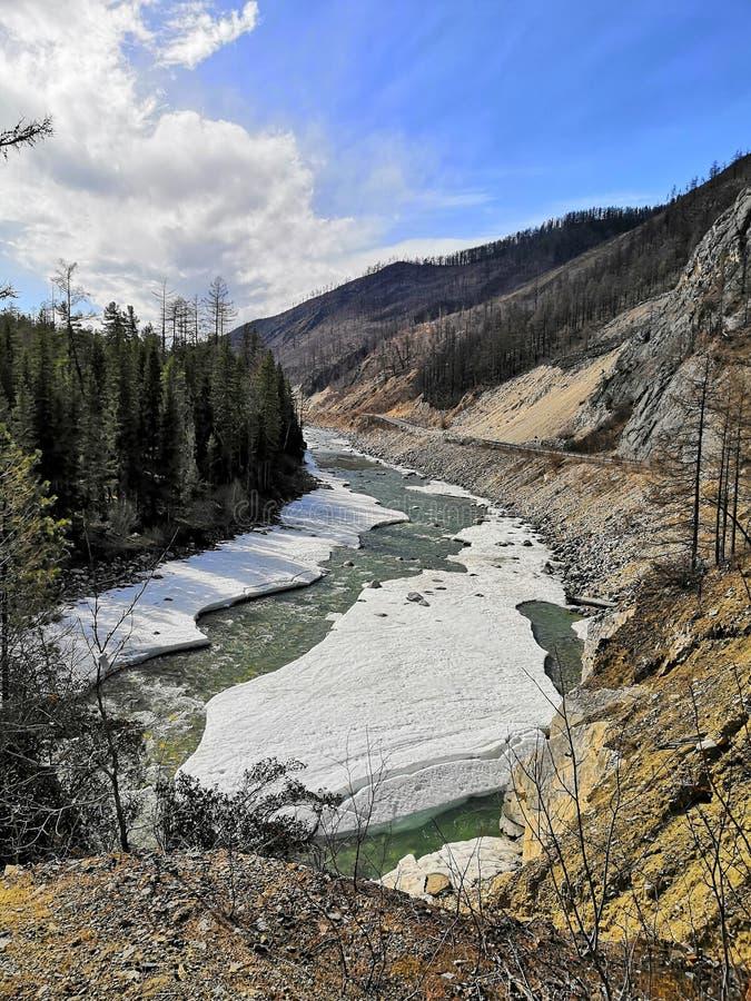 Bergflod på en vårdag arkivbilder