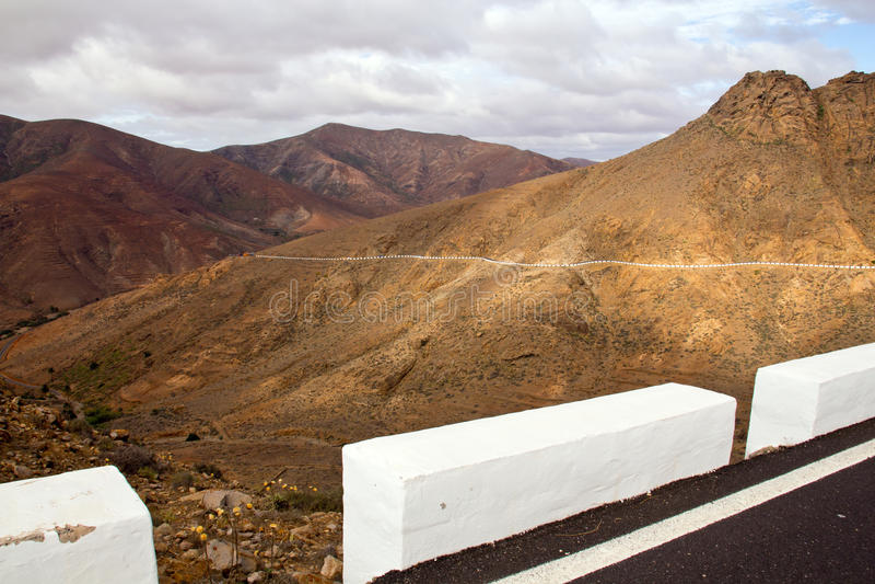 Berggebied in fuerteventura royalty-vrije stock foto's