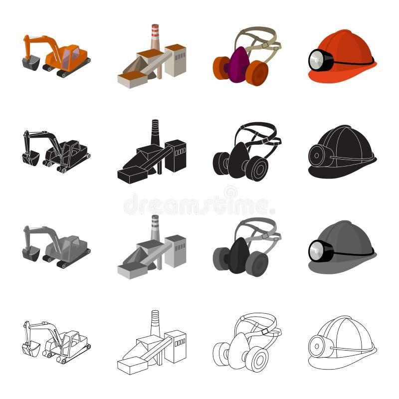 Berggrävskopa, min byggnad, skyddande respirator, hjälmgruvarbetare Bryta fastställda samlingssymboler för bransch i tecknad film stock illustrationer