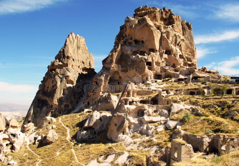 Berggrottor i Pamukkale fotografering för bildbyråer